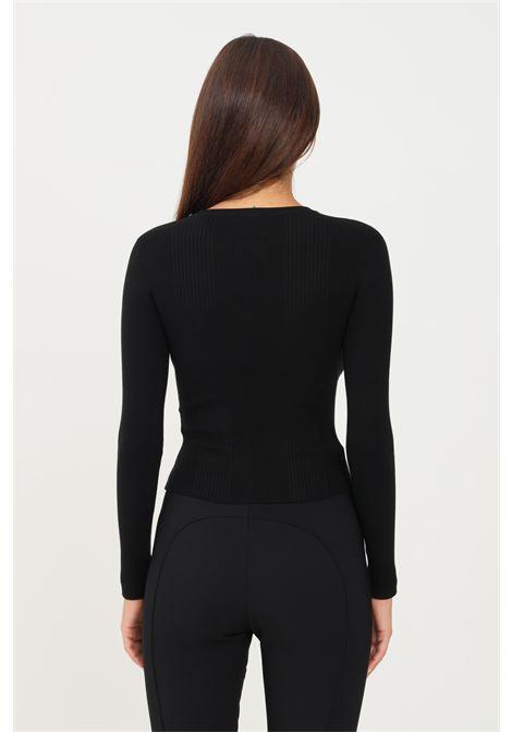 Black women's sweater by elisabetta crew neck model with chain application ELISABETTA FRANCHI | Knitwear | MK20B16E2110