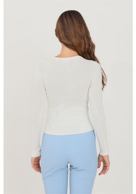 Ivory women's sweater by elisabetta crew neck model with chain application ELISABETTA FRANCHI | Knitwear | MK20B16E2360