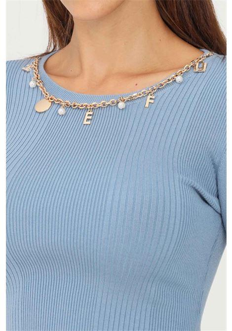 Light blue women's sweater by elisabetta crew neck model with chain application ELISABETTA FRANCHI | Knitwear | MK20B16E2Q80