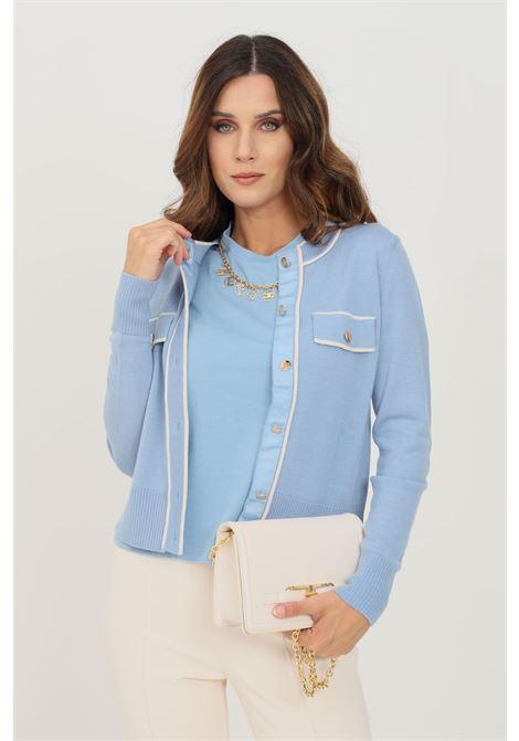 Cardigan donna azzurro elisabetta franchi con bottoni ELISABETTA FRANCHI | Cardigan | MK31S16E2AB5
