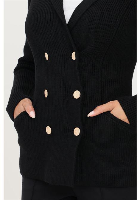 Cardigan donna nero elisabetta franchi con bottoni oro ELISABETTA FRANCHI | Cardigan | MK44S16E2110