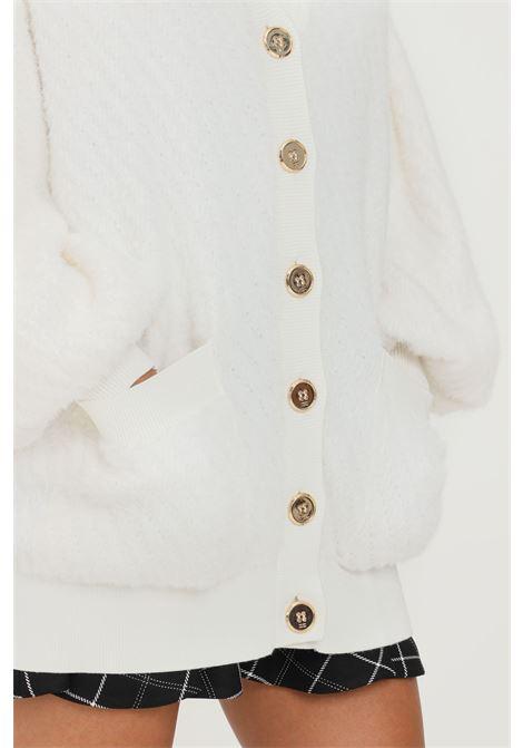 Cardigan donna avorio elisabetta franchi con bottoni oro ELISABETTA FRANCHI | Cardigan | MK45M16E2360