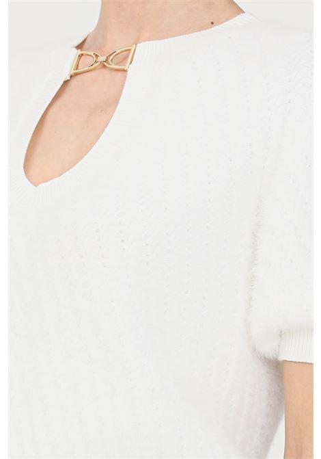 Maglia donna avorio elisabetta franchi girocollo con applicazione oro ELISABETTA FRANCHI | Maglieria | MK46M16E2360