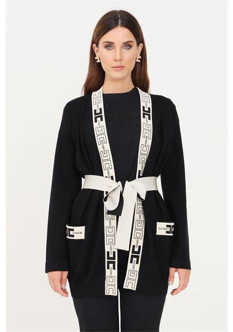 Cardigan donna nero elisabetta franchi a vestaglia con logo ELISABETTA FRANCHI | Cardigan | MK53S16E2685