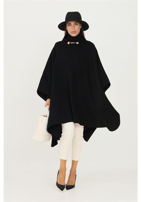 Poncho nero Elisabetta Franchi con cappuccio da donna ELISABETTA FRANCHI | Mantelle | MT04W16E2110