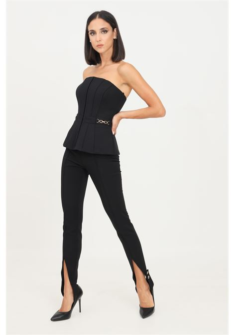 Black women's trousers by elisabetta franchi casual model with bracket in equestrian style ELISABETTA FRANCHI | Pants | PA01216E2110