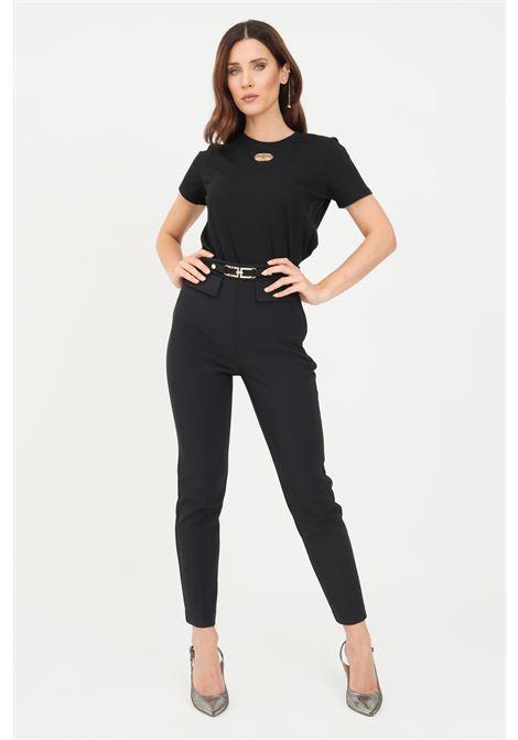 Pantalone nero donna slim elisabetta franchi elegante ELISABETTA FRANCHI | Pantaloni | PA38616E2110