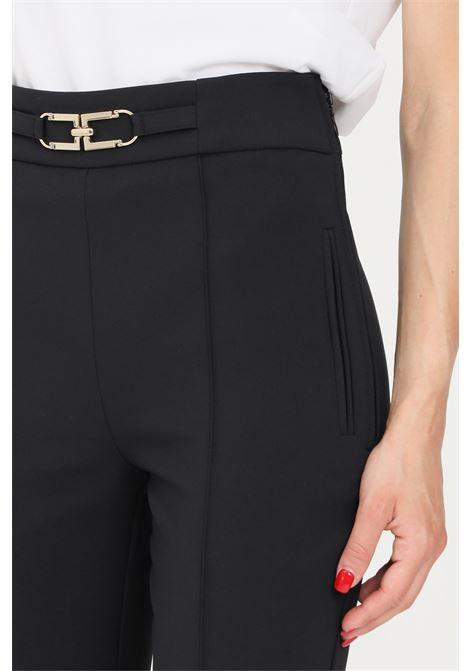 Pantaloni donna nero elisabetta franchi elegante con morsetto oro ELISABETTA FRANCHI | Pantaloni | PA38716E2110
