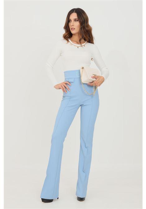 Light blue women's trousers by elisabetta franchi high waist ELISABETTA FRANCHI | Pants | PA38816E2Q80