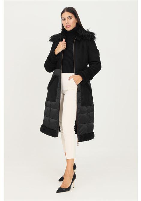 Cappotto donna nero elisabetta franchi imbottito in vela e simil pelliccia ELISABETTA FRANCHI | Cappotti | PI33Z16E2110