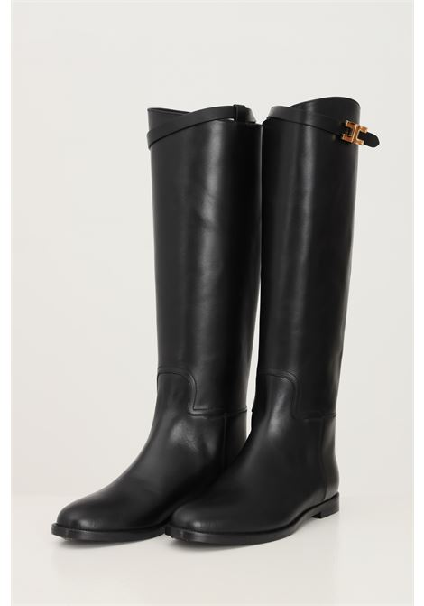 Black women's boots by elisabetta franchi with gold buckle ELISABETTA FRANCHI | Boot | SA39C16E2110