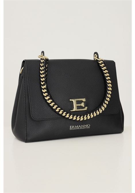 Black women's flap bag by ermanno scervino with removable logo shoulder strap Ermanno scervino | Bag | 12401226293