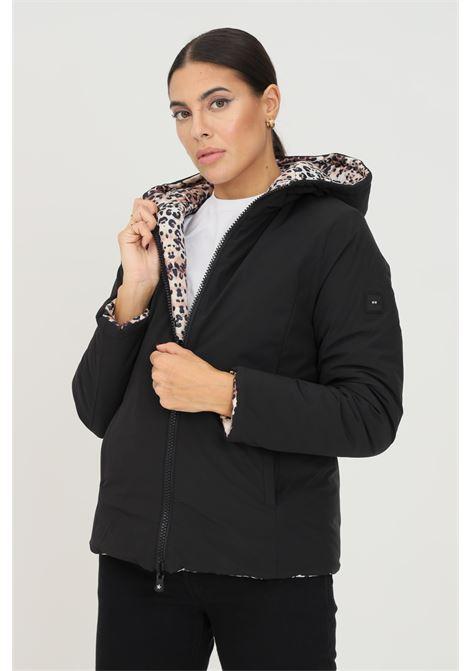 Black women's down jacket by f**k with hood, reversible hood F**K   Jacket   AGUA22299P.