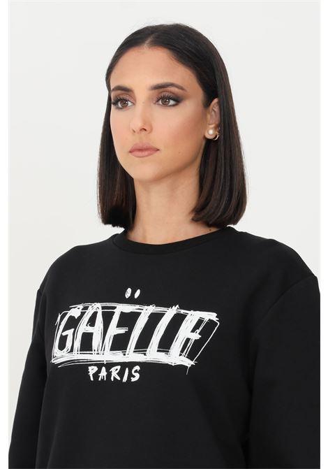 Felpa donna nero gaelle modello girocollo con maxi logo a contrasto GAELLE | Felpe | GBD10136NERO
