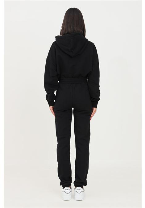 Pantaloni donna nero gaelle modello casual con maxi logo a contrasto GAELLE   Pantaloni   GBD10137NERO