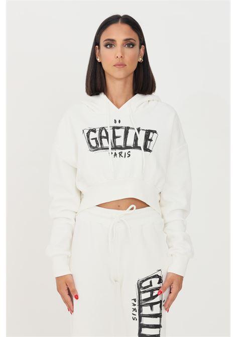 Felpa donna bianco gaelle con cappuccio e stampa logo frontale GAELLE   Felpe   GBD10143BIANCO