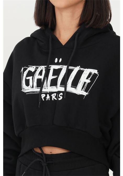 Felpa donna nero gaelle con cappuccio e stampa logo frontale GAELLE   Felpe   GBD10143NERO