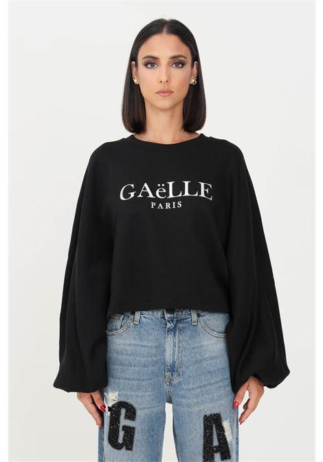 Black women's sweatshirt by gaelle crew neck model with wide sleeves   GAELLE | Sweatshirt | GBD10160NERO