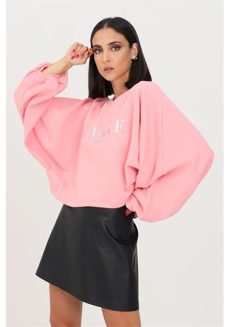 Pink women's sweatshirt by gaelle crew neck model with wide sleeves GAELLE | Sweatshirt | GBD10160ROSA