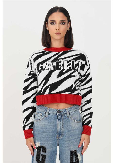 Zebra women's sweater by gaelle paris with contrasting hems GAELLE | Knitwear | GBD10274ZEBRATO BIANCO