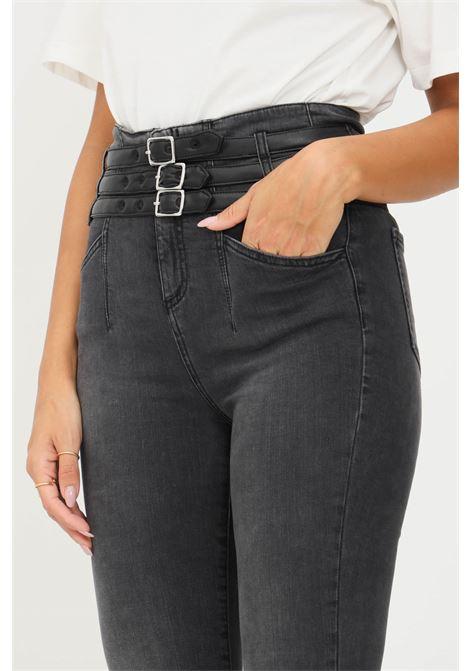 Jeans da donna nero gaelle con fibbie regolabili in ecopelle GAELLE   Jeans   GBD10430NERO