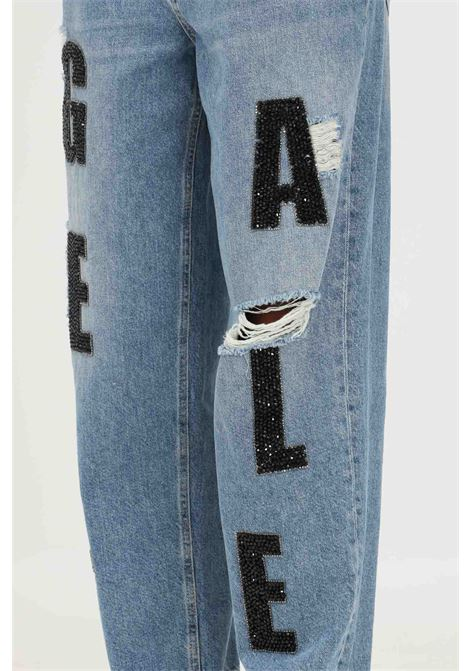 Blue women's jeans by gaelle with stone applications GAELLE   Jeans   GBD10445BLU
