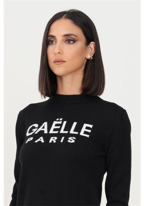 Black women's sweater by gaelle with contrasting logo, crew neck model GAELLE | Knitwear | GBD9800NERO