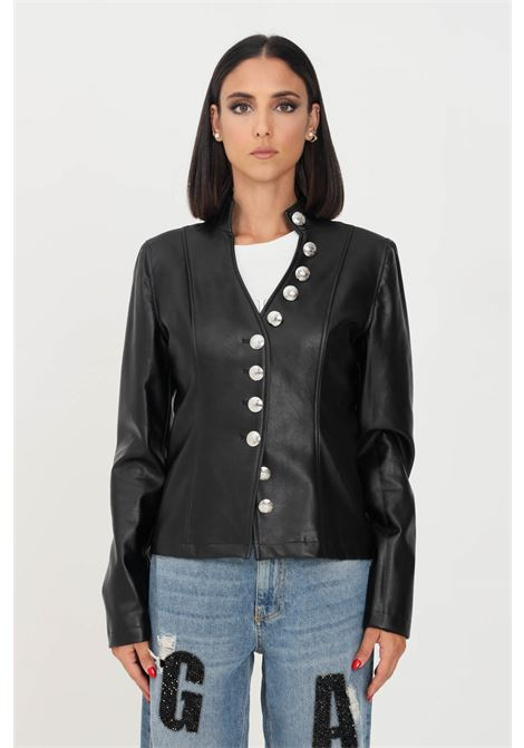 Black women's jacket in eco leather by gaelle with silver buttons GAELLE | Jacket | GBD9893NERO