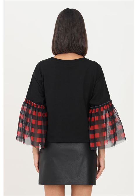 T-shirt donna nero gaelle con tulle sulle maniche GAELLE   T-shirt   GBD9940NERO