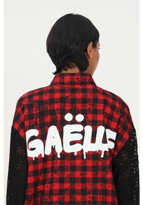 Abito camicia rosso gaelle con stampa quadri GAELLE   Abiti   GBD9958ROSSO