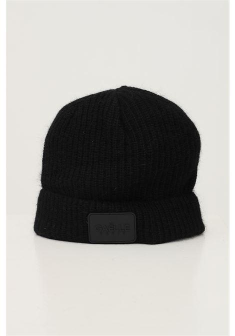 Black women's hat with lapel and tone on tone logo application GAELLE | Hat | GBDA2667NERO
