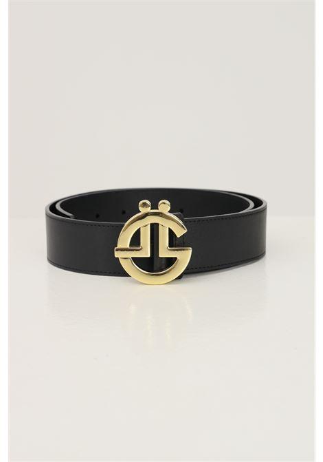 Black women's belt by gaelle with gold logo buckle GAELLE | Belt | GBDA2684NERO/ORO