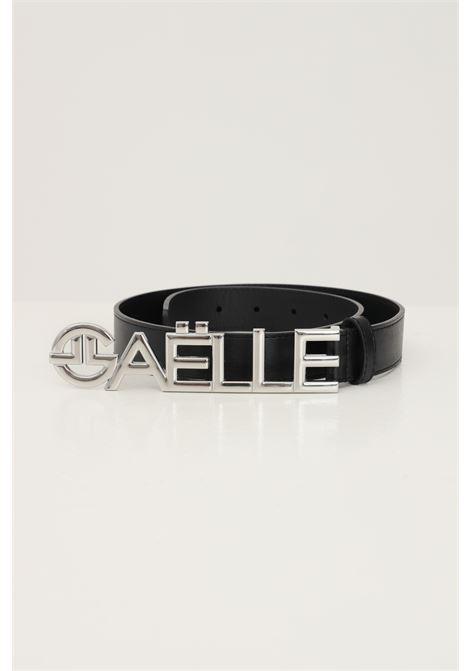 Black women's belt by gaelle with maxi silver logo GAELLE | Belt | GBDA2685NERO/ARGENTO
