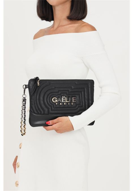 Black women's clutch by gaelle with logo lettering on the front GAELLE | Bag | GBDA2690NERO