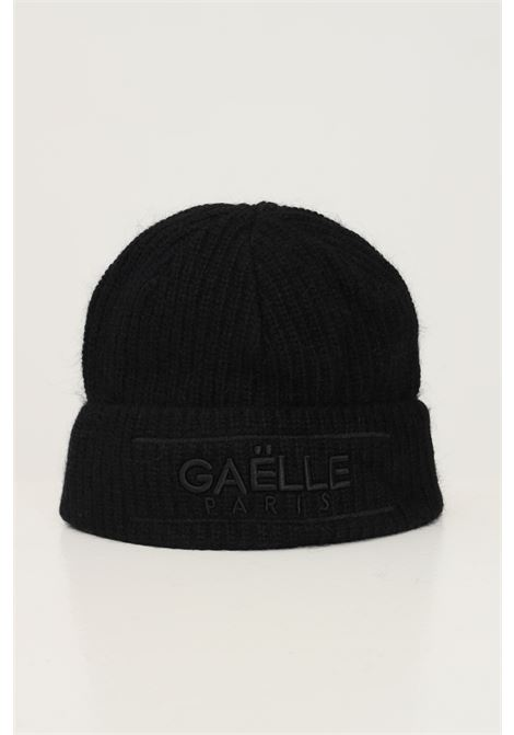 Black women's hat by gaelle with lapel and tone on tone logo GAELLE | Hat | GBDA2741NERO
