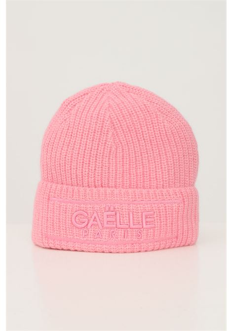 Pink women's hat by gaelle with lapel and tone on tone logo GAELLE | Hat | GBDA2741ROSA
