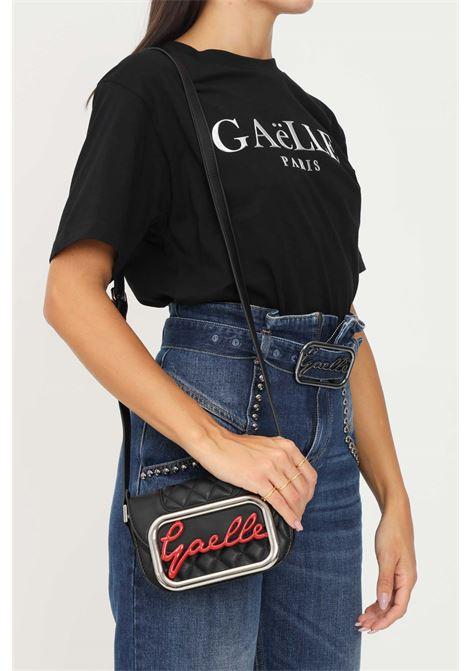Borsa donna nero gaelle con tracolla regolabile e applicazione logo a contrasto GAELLE | Borse | GBDA2770NERO