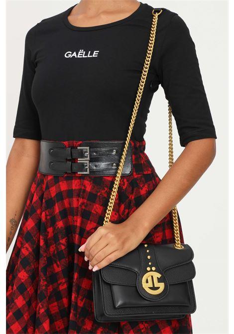 Borsa donna nero gaelle con tracolla e applicazione logo oro GAELLE | Borse | GBDA2841NERO