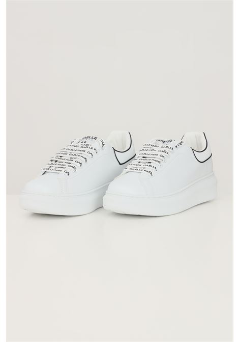 White women's addict sneakers by gaelle with logo laces and basic laces  GAELLE | Sneakers | GBDC2351BIANCO