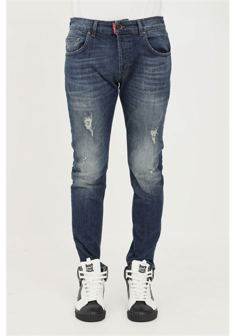 Jeans uomo blu gaelle con abrasioni frontali GAELLE | Jeans | GBU5093BLU