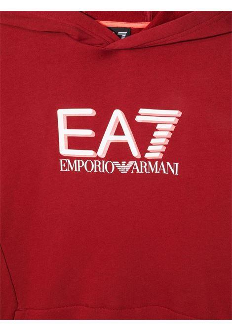 Felpa bambino rosso giorgio armani con cappuccio e stampa logo frontale GIORGIO ARMANI | Felpe | 6KBM56BJ07Z1459