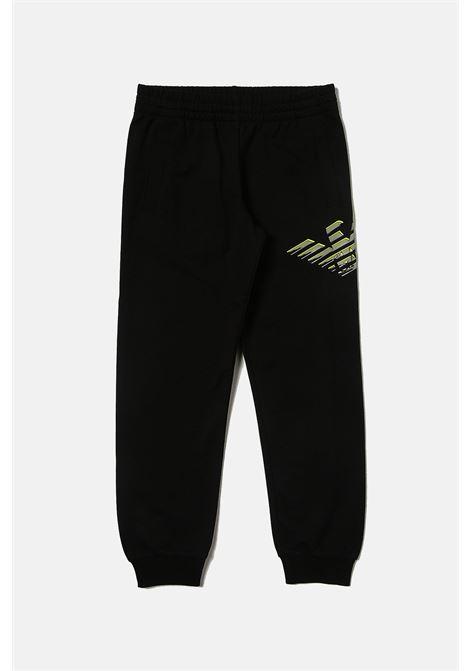 Pantaloni bambino nero giorgio armani con logo laterale a contrasto GIORGIO ARMANI | Pantaloni | 6KBP59BJ05Z1200