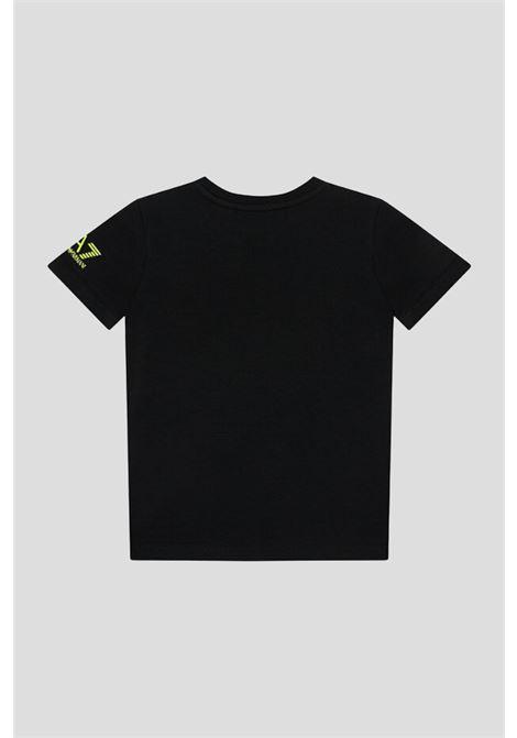 T-shirt bambino nero giorgio armani a manica corta con stampa fluo frontale GIORGIO ARMANI | T-shirt | 6KBT60BJ6EZ1200