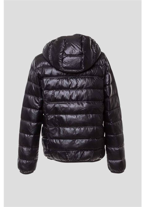 Piumino bambino nero giorgio armani con cappuccio e zip GIORGIO ARMANI | Giubbotti | 8NBB34BN29Z1200