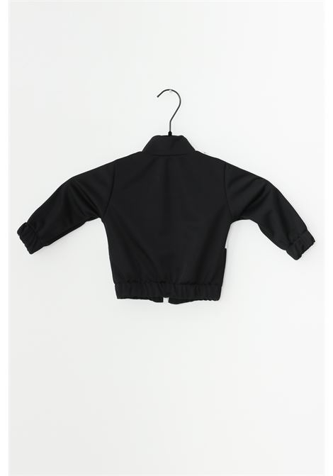 Black newborn complete suit, sweatshirt with front logo and full zip, trousers with elastic waistband. Gioselin GIOSELIN | Suit | TUTA-ZIPKNERO