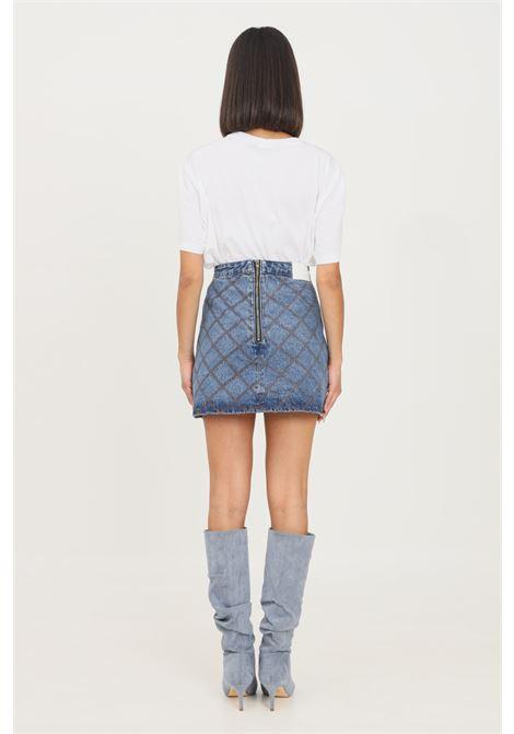 Denim skirt by glamorous short cut with contrasting geometric stitching GLAMOROUS | Skirt | AN3986MID STONE WASH