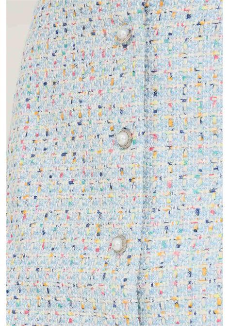 Gonna a fantasia azzurro glamorous corta chiusura frontale con bottoni gioiello GLAMOROUS   Gonne   AN4011BLUE MULTI TWEED