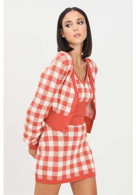 Orange women's cardigan by glamorous with checked pattern GLAMOROUS | Cardigan | CA0142RUST GINGHAM
