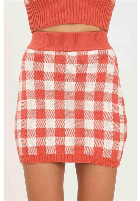 Orange skirt by glamorous short model with check pattern GLAMOROUS | Skirt | CA0143RUST GINGHAM