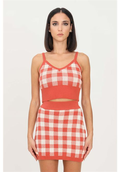 Orange top glamorous casual model with checked pattern GLAMOROUS | Top | CA0144RUST GINGHAM